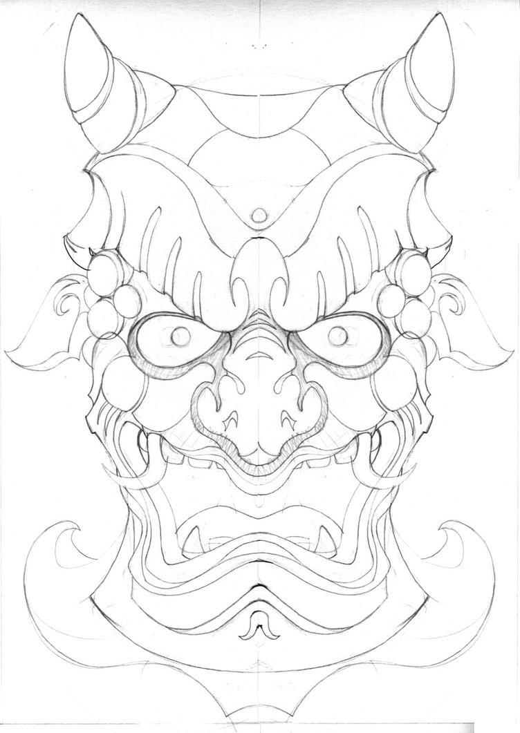 Traditional japanise lineart demon mask tattoo design