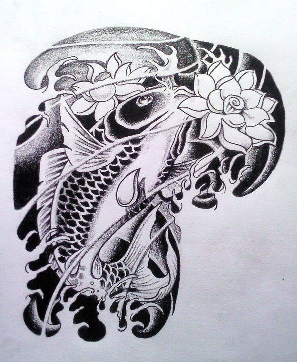 Traditional Koi Fish With White Lotus Flowers In Black Water Tattoo