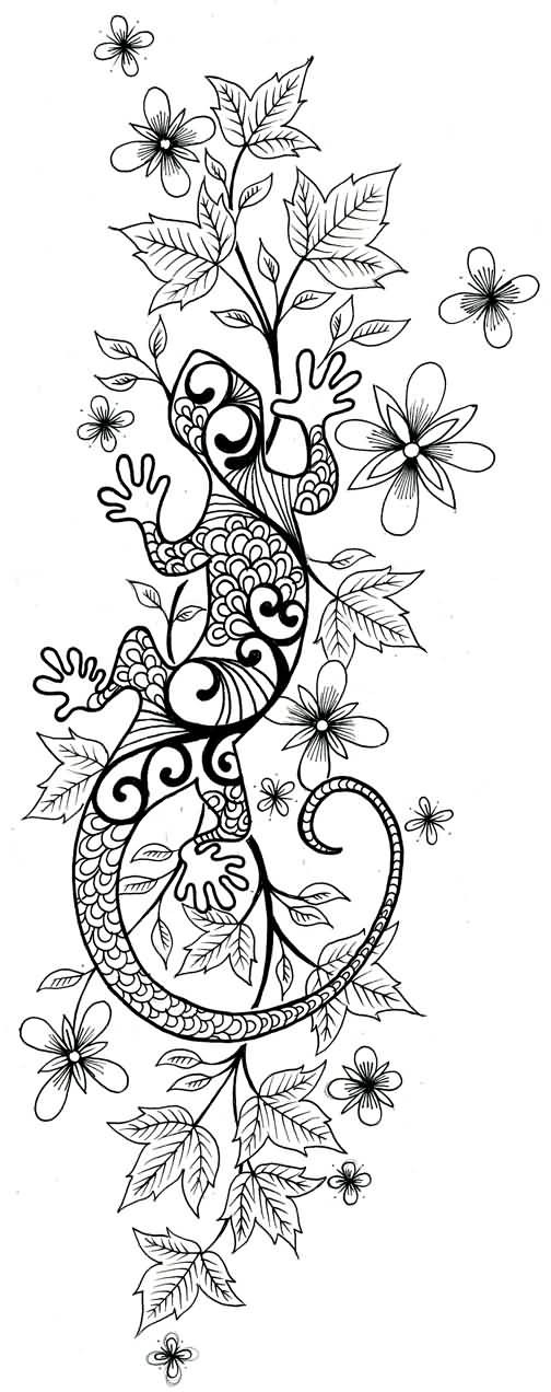 Traditional lizard crawling on floral background tattoo design