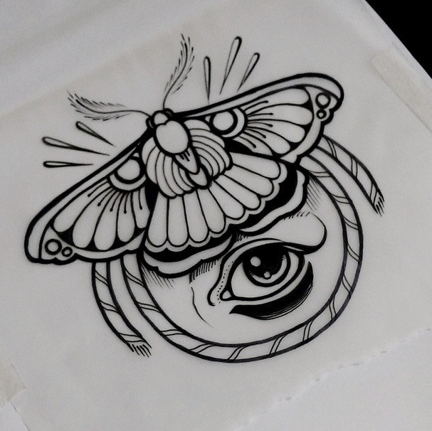 traditional moth and human eye framed with rope tattoo design by jethro wood. Black Bedroom Furniture Sets. Home Design Ideas