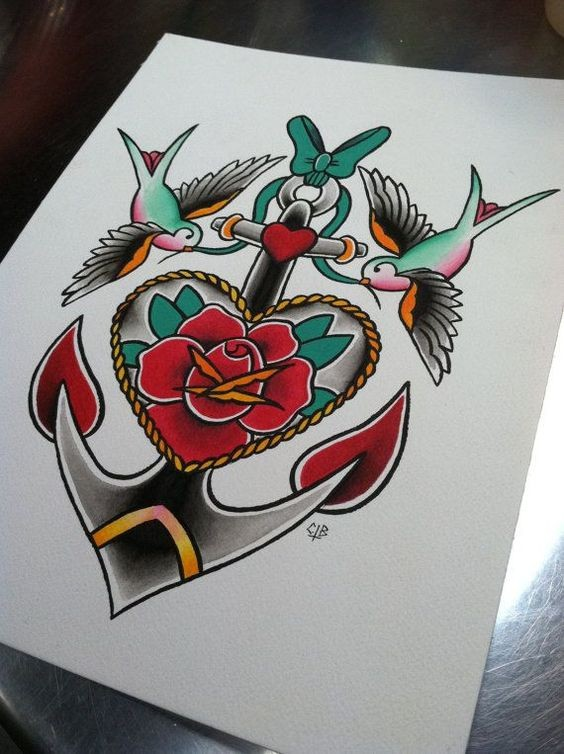 Traditional multicolor anchor and heart with reflected sparrows tattoo design