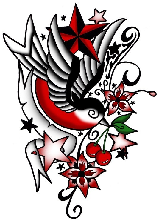 Traditional multicolor detailed sparrow tattoo design