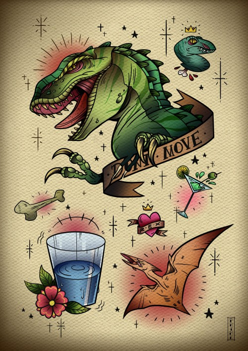 Traditional multicolor dinosaurs with different elements tattoo design