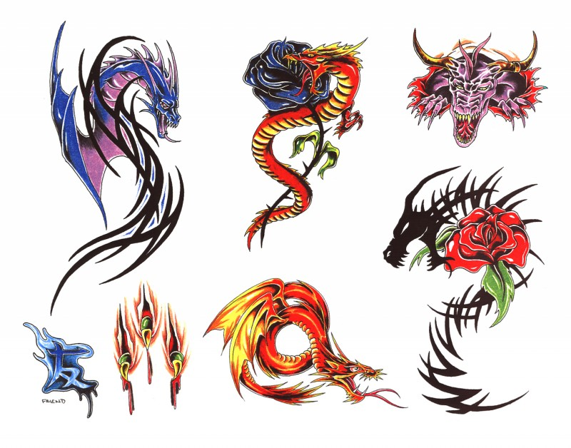 Traditional multicolor dragons with tribal elements tattoo design