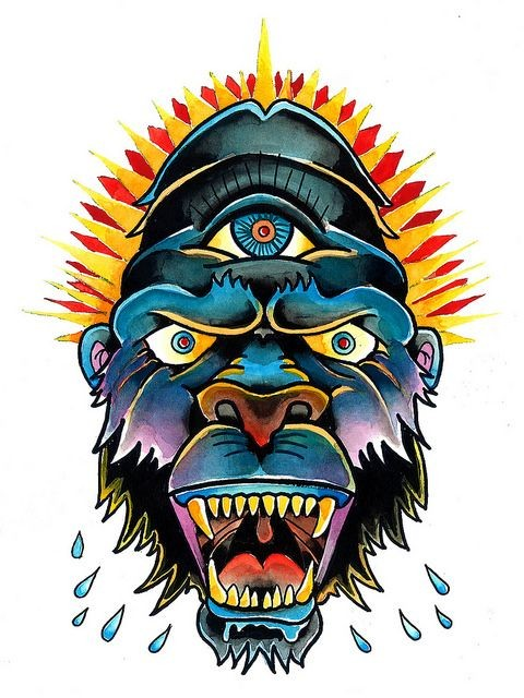 Traditional multicolor gorilla head with illuminati eye tattoo design