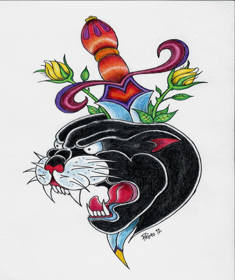 Traditional multicolor panther head pierced with sword tattoo design