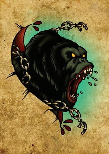 Traditional multicolor roaring gorilla tattoo design