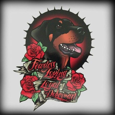 Traditional multicolor rottweiler with roses and lettering tattoo design