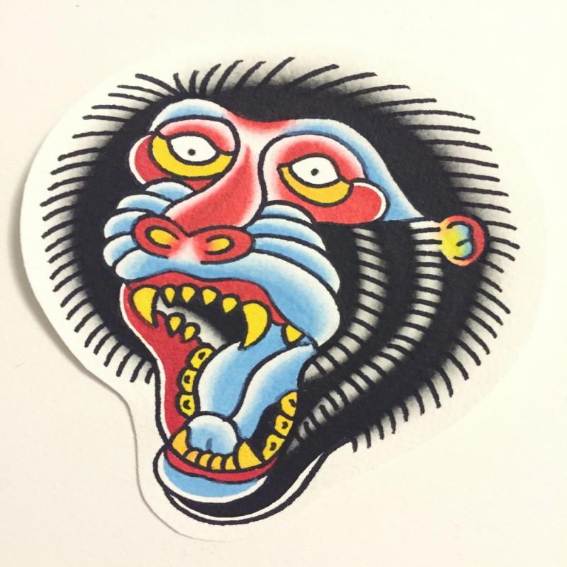 Traditional multicolor screaming monkey head tattoo design