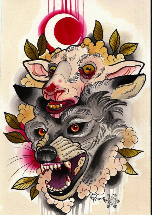 Traditional multicolor sheep and wolf head and bloody moon tattoo design