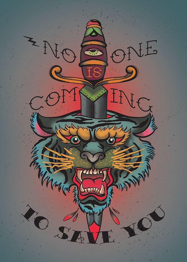 Traditional multiolor tiger head killed wuth dagger and huge-lettered quotes tattoo design