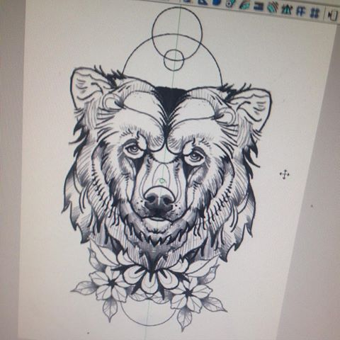 Traditional new school bear head with flowers and geometric drawings tattoo design