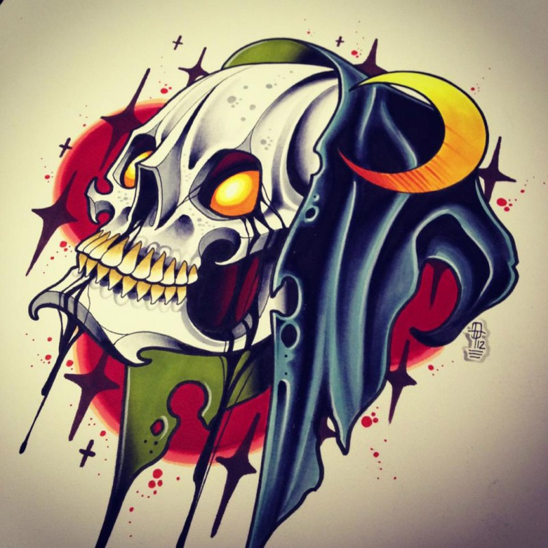 Traditional new school death skull and half moon on bloody background tattoo design
