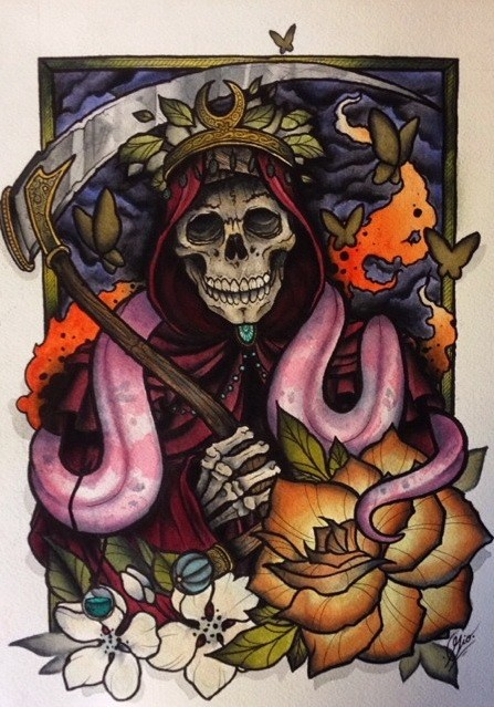 Traditional new school death with a snake and rose flower tattoo design
