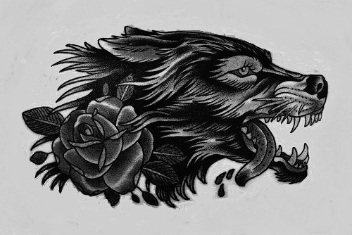 Traditional new school wolf head with rose tattoo design