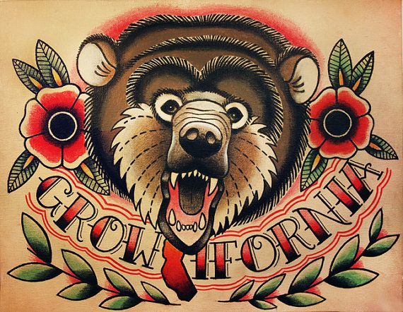 Traditional old school bear with flowers and lettering tattoo design