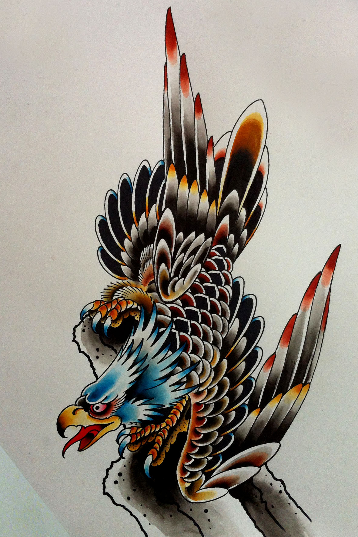 traditional old school blue headed screaming eagle tattoo design. Black Bedroom Furniture Sets. Home Design Ideas