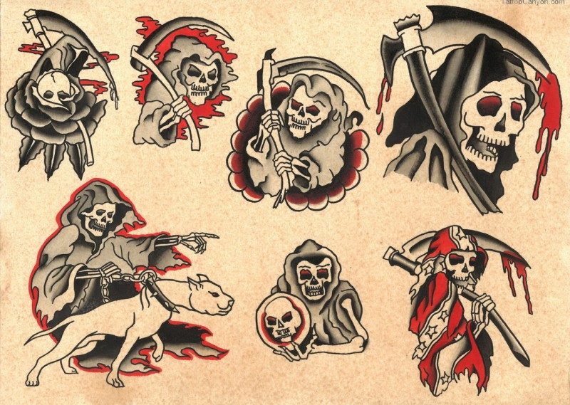 Traditional old school death in different situations tattoo design