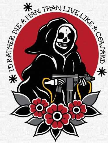 Traditional old school death with an automaton and flowers on red lettered background tattoo design