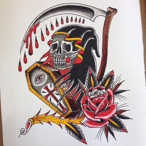 Traditional old school death with coffin and rose flower tattoo design