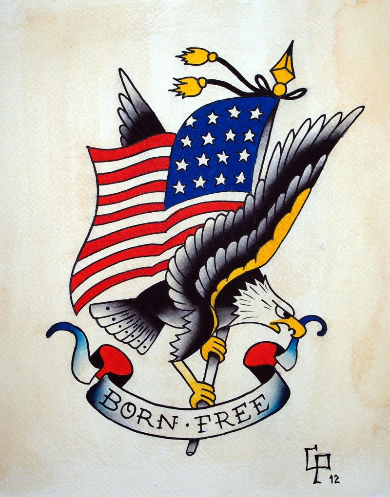 Traditional old school eagle keeping american flag and banner tattoo design
