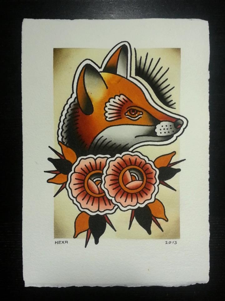 Traditional old school orange fox with couple of flowers tattoo design