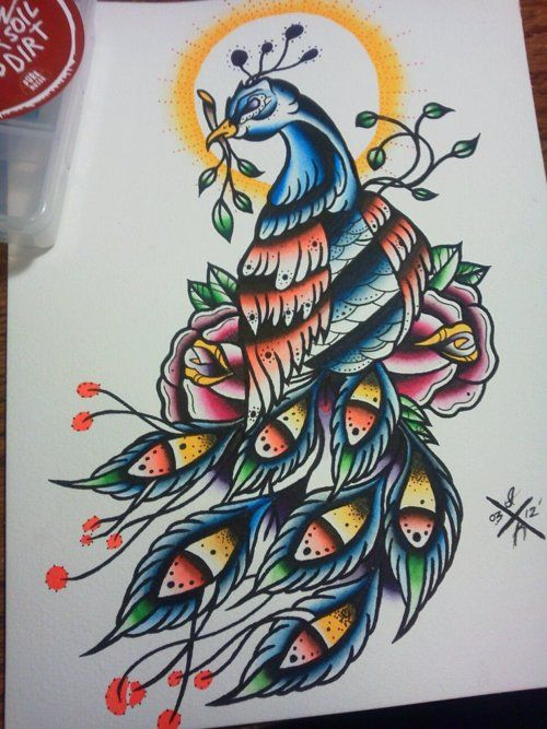 Traditional old school peacock keeping a branch in a beak and shining sun nimbus tattoo design