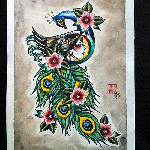 Traditional old school peacock with girl face pattern for Traditional peacock tattoo