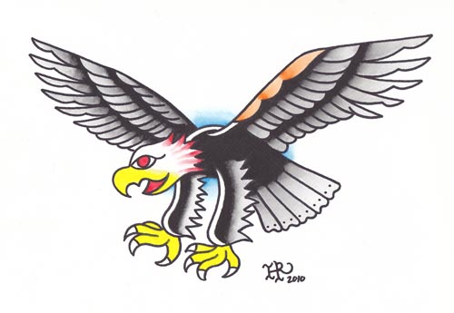 Traditional old school pink-head laughing eagle by Heathwreed