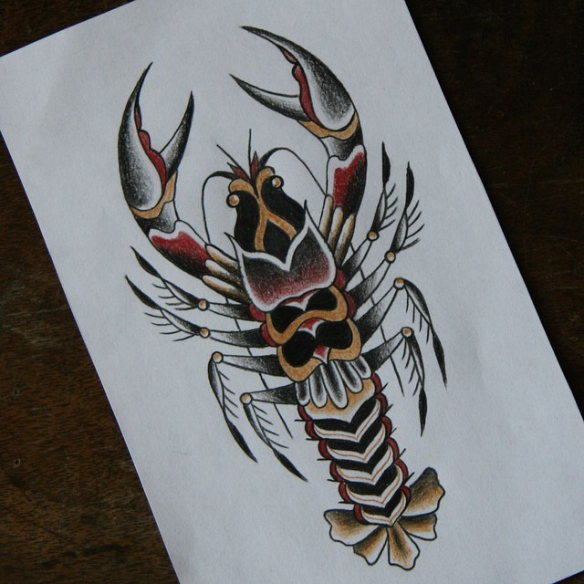 Traditional old school style water animal tattoo design