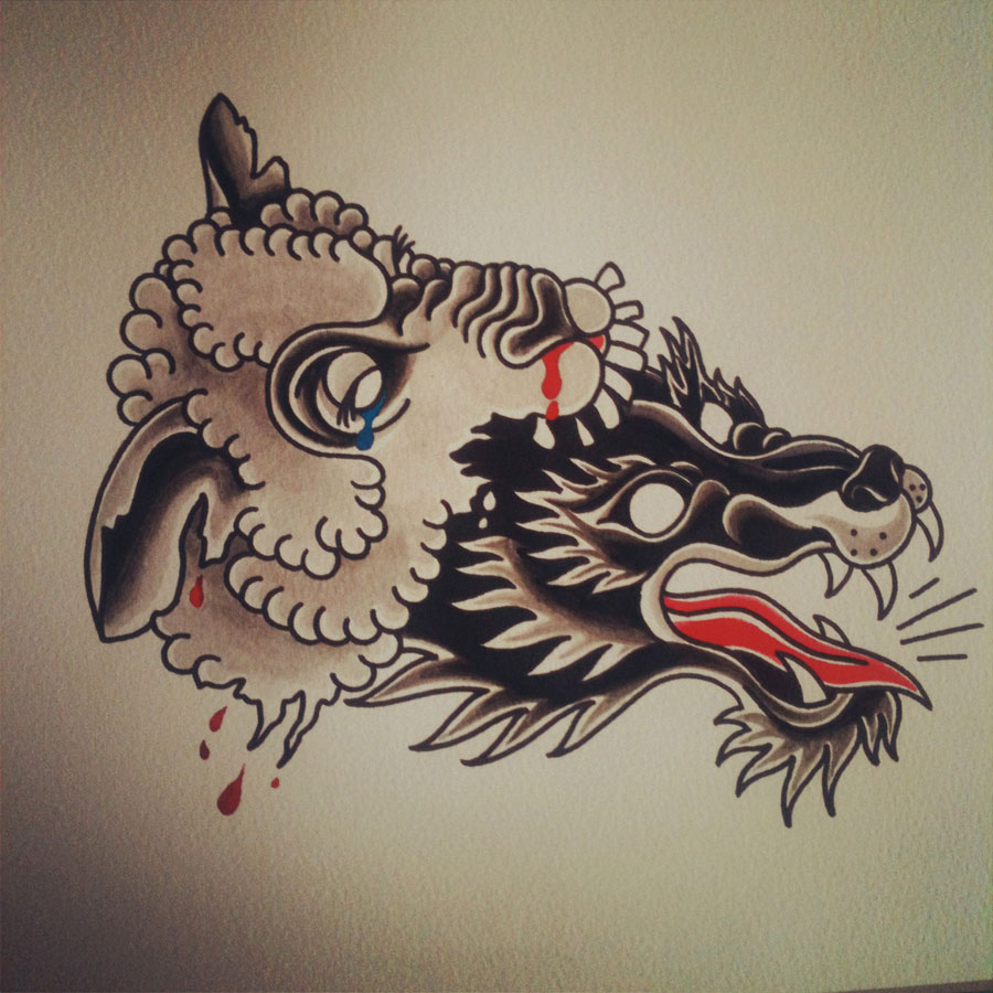 Traditional old school wolf and sheep heads tattoo design