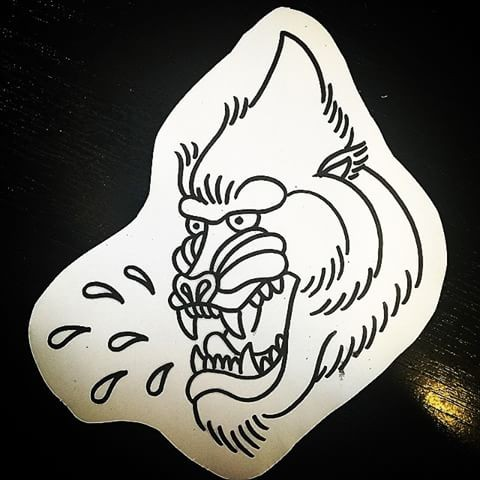 Traditional outline baboon head and water drops tattoo design