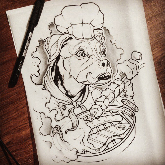 Traditional outline dog cook frying meat tattoo design