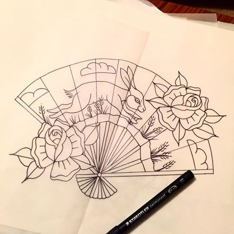 Traditional Outline Fan With Hare Print And Roses Tattoo Design