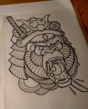 Traditional outline gorilla samurai in armour tattoo design