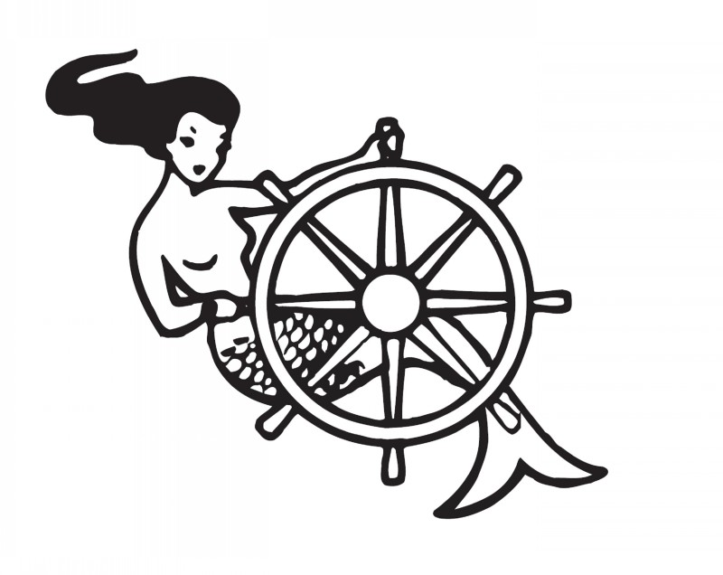 Traditional outline mermaid driving with stearing wheel tattoo design