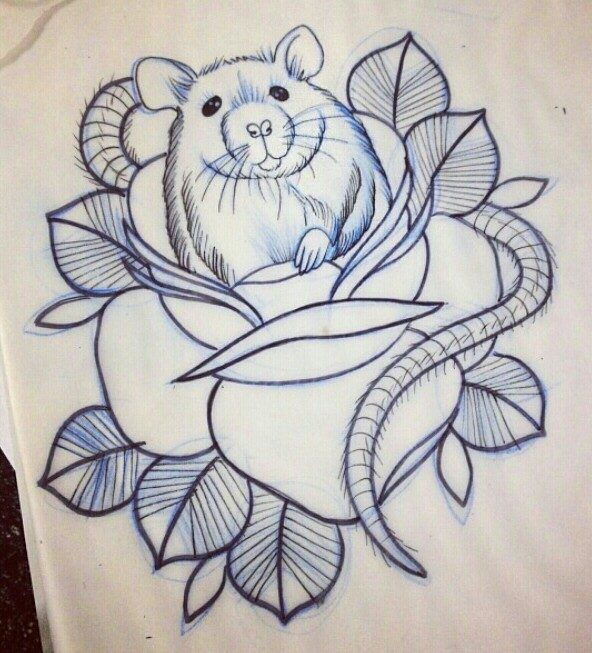 Traditional outline mouse looking out of huge rose bud tattoo design