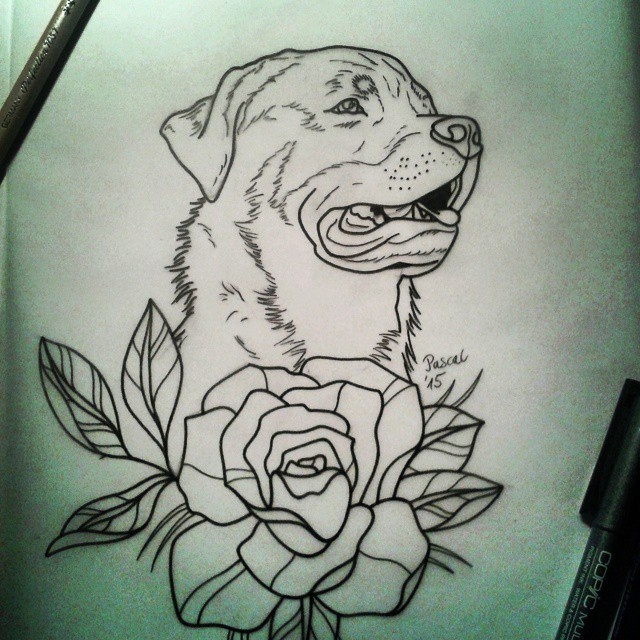 Traditional outline rottweiler and big flower tattoo design