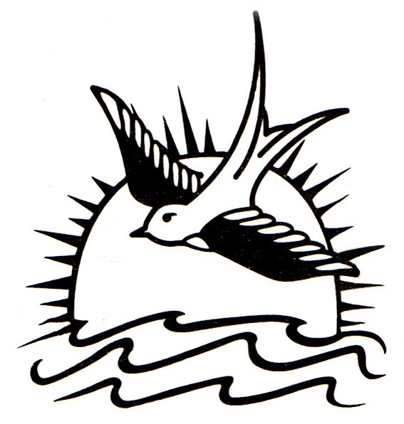Traditional outline sparrow over sea on sun background tattoo design