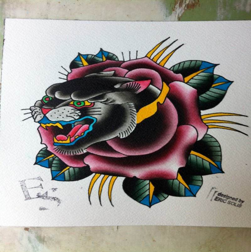 Traditional panther head looking out rose bud tattoo design
