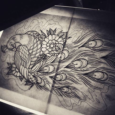 Traditional peacock and flowers in uncolored smoke tattoo for Traditional peacock tattoo