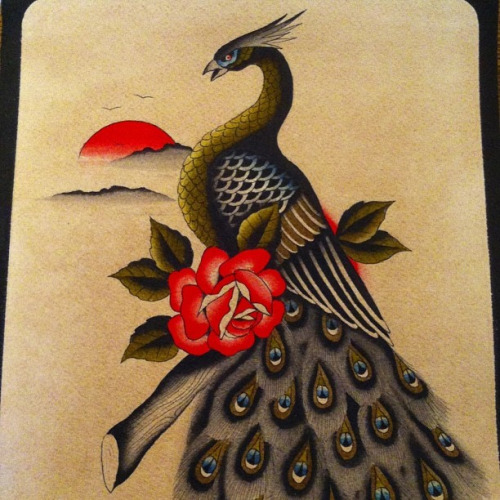Traditional peacock sitting on branch with roses tattoo for Traditional peacock tattoo