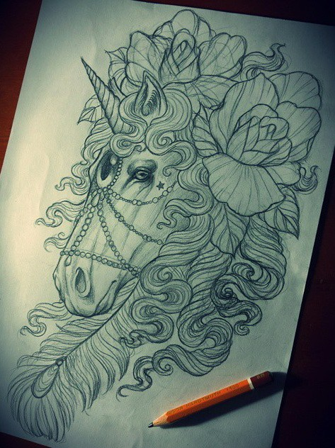 Traditional pencilwork lace-decorated unicorn head with roses tattoo design