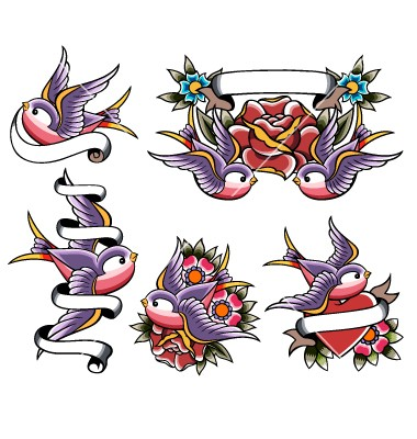 Traditional purple sparrow with additional elements tattoo design collection