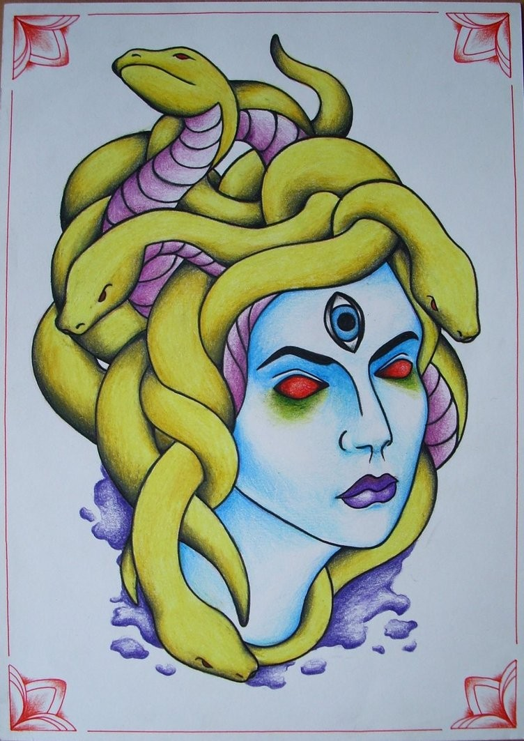 Traditional red-eyed medusa gorgona with yellow snakes tattoo design