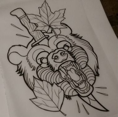 Traditional screaming bear head pierced with dagger and maple leaves tattoo design