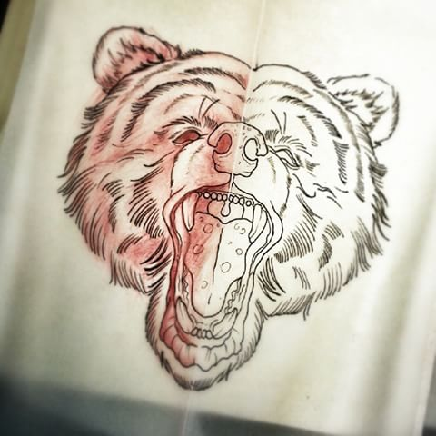 traditional screaming bear head tattoo design. Black Bedroom Furniture Sets. Home Design Ideas