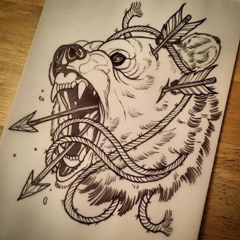 Traditional screaming grizzly head with arrows and rope tattoo design