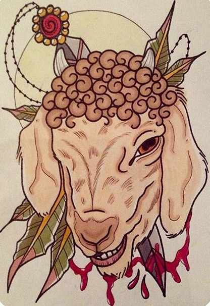 Traditional sheep head killed with sharp knife tattoo design