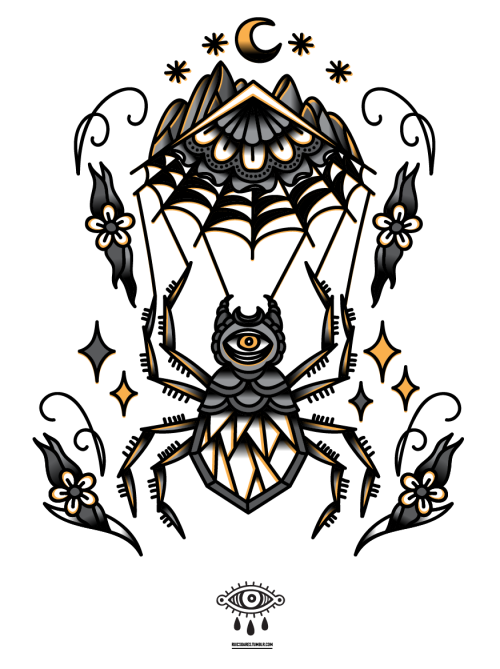 Traditional spider with eye print and flower decorations tattoo design